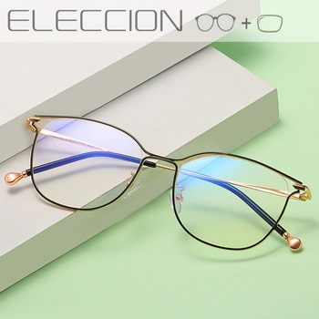 Cat Eye Women Optical Glasses Frames With lens Ultralight Metal Frame Female Prescription Spectacles Clear Myopia Eyeglasses 1 74 index anti blue ray prescription optical eyeglasses spectacles lenses rx able lenses free assembly with glasses frame