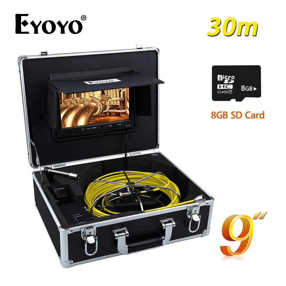 Eyoyo WP90A9 30M 9 LCD 17mm Sewer Camera Pipe Drain Inspection Snake Endoscope Recorder 1000TVL DVR 6PCS White LEDS + 8GB