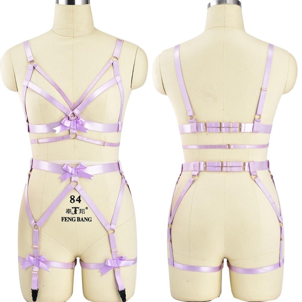Fetish Purple Bow Body Harness Bdsm Bondage High Waist Garter Belt Set Elastic Strap Lingerie Harajuku Punk Goth Halloween Dance