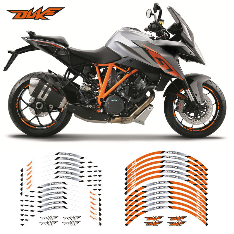 Motorcycle Front And Rear Wheels Edge Outer Rim Sticker Reflective Stripe Wheel Decals For KTM DUKE 125 250 390 790 1290supe