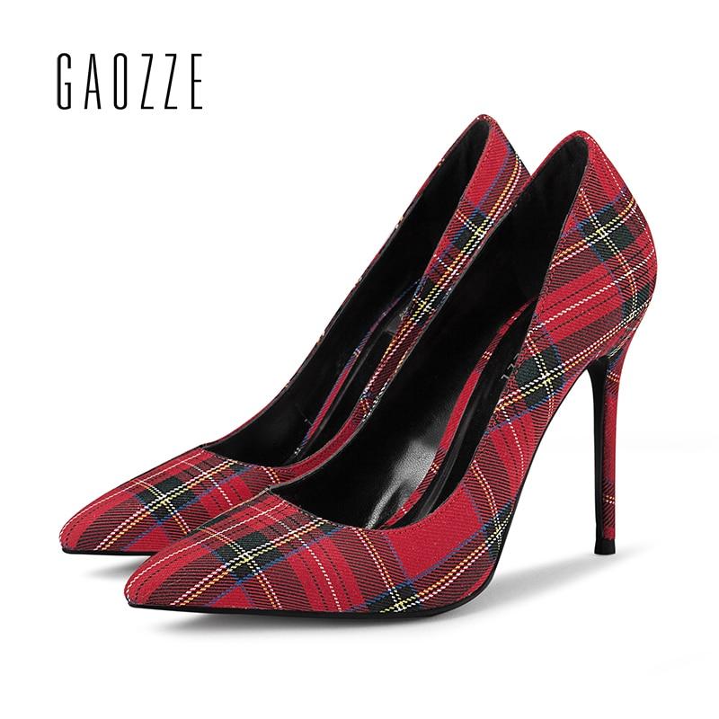 Красный плед овчины женские Туфли лодочки шпильке 10 см очень высокий каблук смешанных Цвет решетки вечерние в европейском и американском с