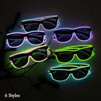 Barato Espumosos gafas de 30 piezas EL alambre gafas con constante conductor alimentado por 2 AA baterías