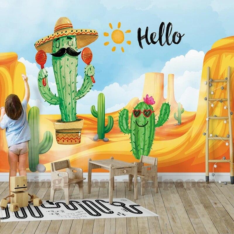 3D Photo Wallpaper Hand Painted Succulent Plants Cartoon  Kids Mural Children Room Sofa Background Wallpaper Papel De Parede