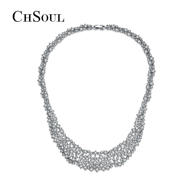 CHSOUL Choker Necklace Statement Big Pendant Clavicle Vintage Jewellery Clear AAA+ CZ Stone Fashion Jewelry Accessories