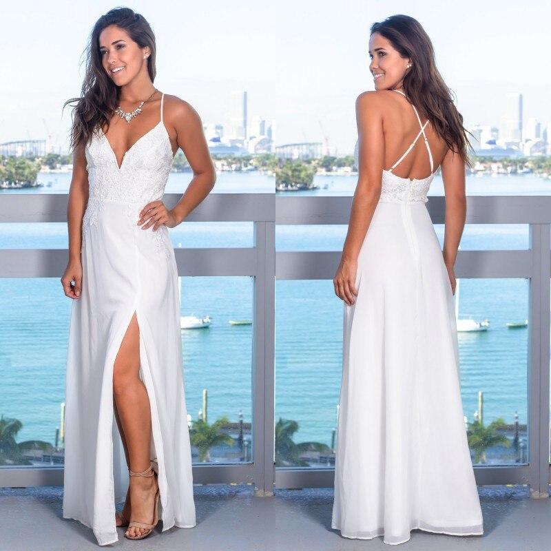 2019 Chiffon Long   Bridesmaid     Dresses   Sexy V Neck Spaghetti Strap Lace Applique Wedding Party Gown robe demoiselle d'honneur