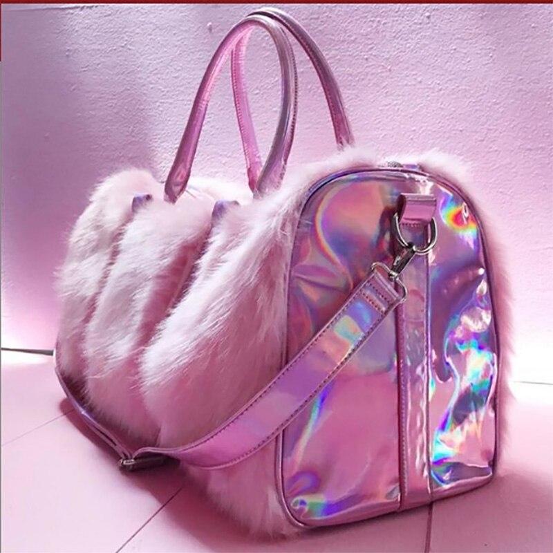 Grand fourre-tout pour femmes 2018 peluche rose Sac de voyage mignon dames sacs à bandoulière grande femme sacs à Main Sac a Main Sac fourre-tout pour femmes - 2