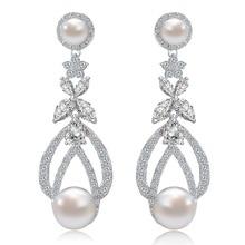 2016 Palacio Romántico Estilo de Imitación de La Perla de Oro Blanco Plateado CZ Diamond Bridal Larga Cuelga Los Pendientes de La Joyería