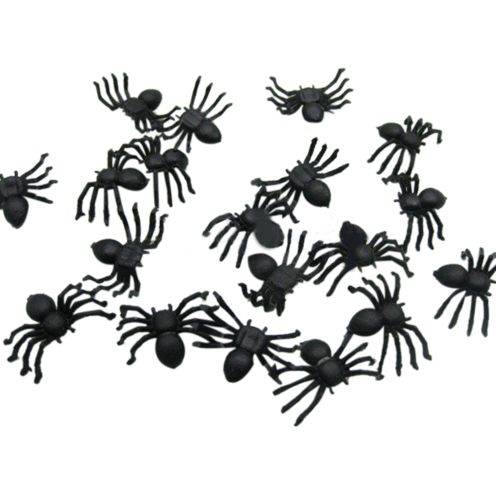 Small Animal Supplies Pet Products 20 Pcs/lot Pet Toys Halloween Plastic Black Spider Joking Toys Home Decoration Realistic Dropshipping Aug22
