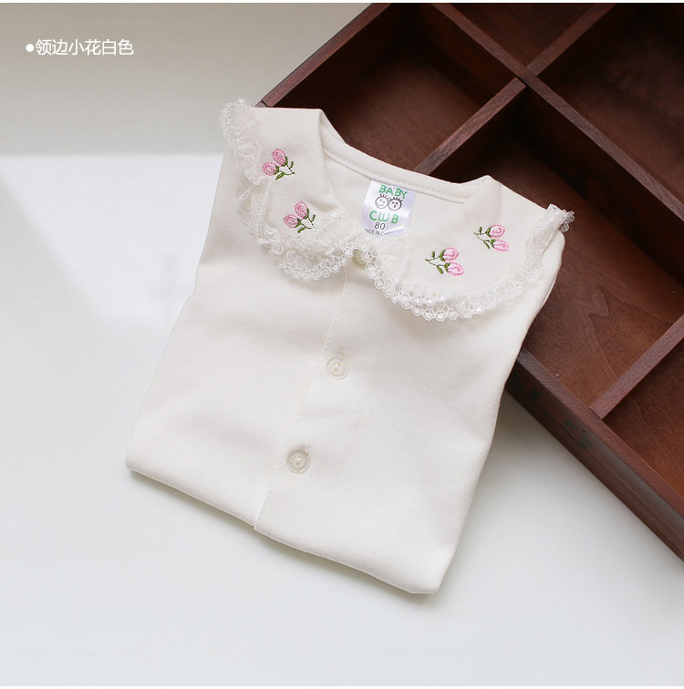 2017 kid cotton shirts baby cardigans shirts spring autumn base shirt girls long underwear long sleeve undershirts white blouses