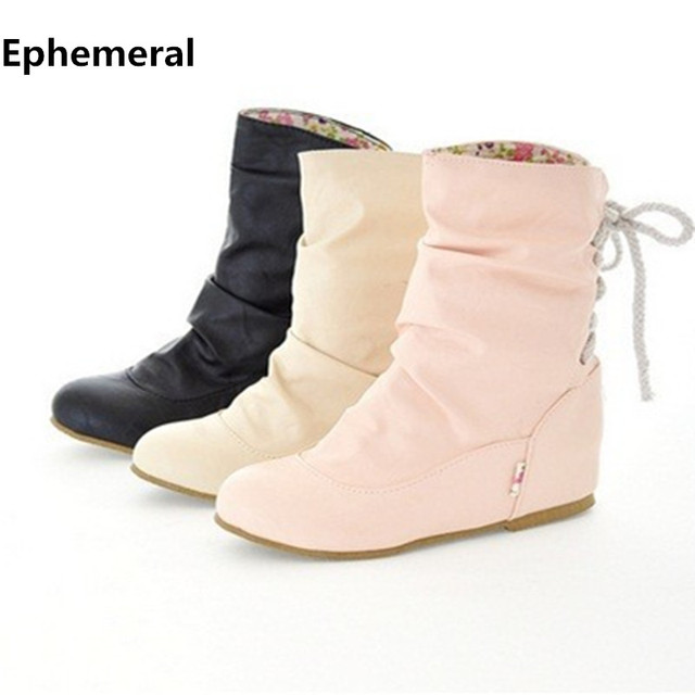 Ladies big size(4 to 13)Leather Winter Autumn Ankle Height increasing boot  Snow boots women shoes Riding 7c47cc6c7
