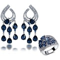New High Quality Party Accessories Wedding Jewelry Sets blue montana water drop stone Earrings with ring sets