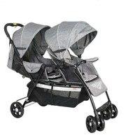 Легкий складной близнецы детская коляска каретки, вес нетто 9,6 кг новорожденных близнецов коляска с 8 колес, регулировки сиденья близнецы ко