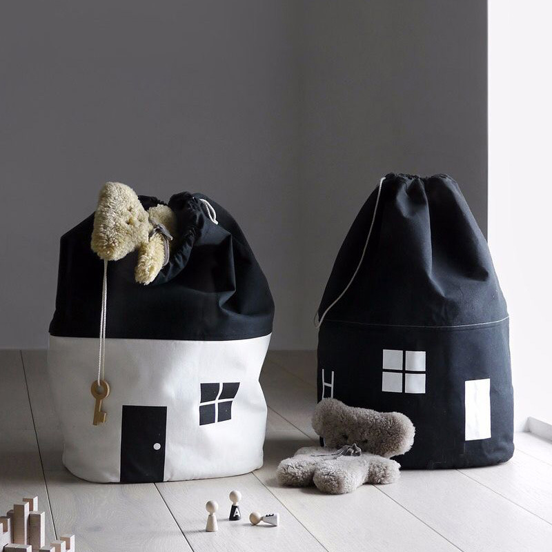 65*40cm INS Cute House Toy Storage Bag Children Kids Baby Pure Cotton Toys Collection Bag House Pretend Play Toy Organizers