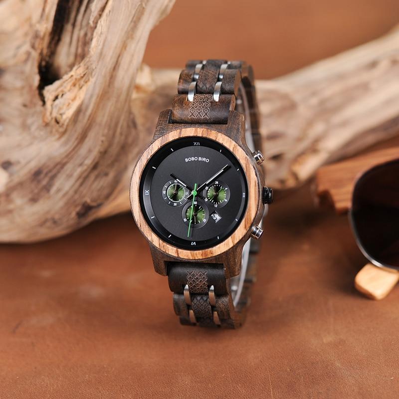 Image 3 - BOBO BIRD Women Wooden Watches Orologio da donna Luxury Wood Metal Strap Chronograph Date Ladies Quartz Watch Timepieces-in Women's Watches from Watches