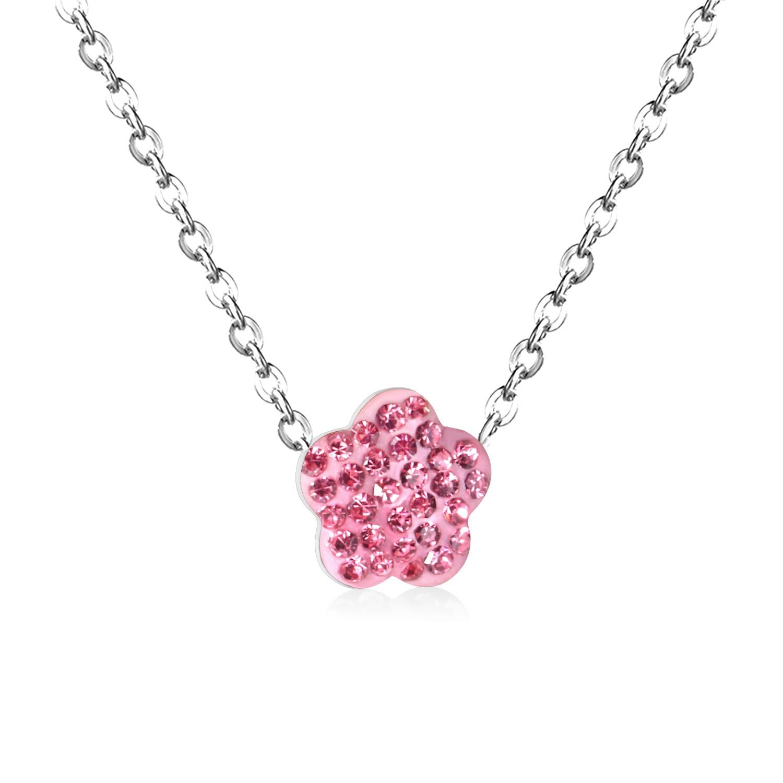 Flower Necklace Floating Flower Necklace Pink Flower Necklace Gold Necklace With Pink Flower Gold Pendant Pink Flower Necklace