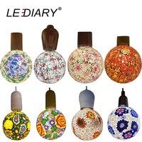 LEDIARY NEW Colorful Decoration Bulb 100V 240V E27 4W G120 Glass With Flower Crack Pattern European