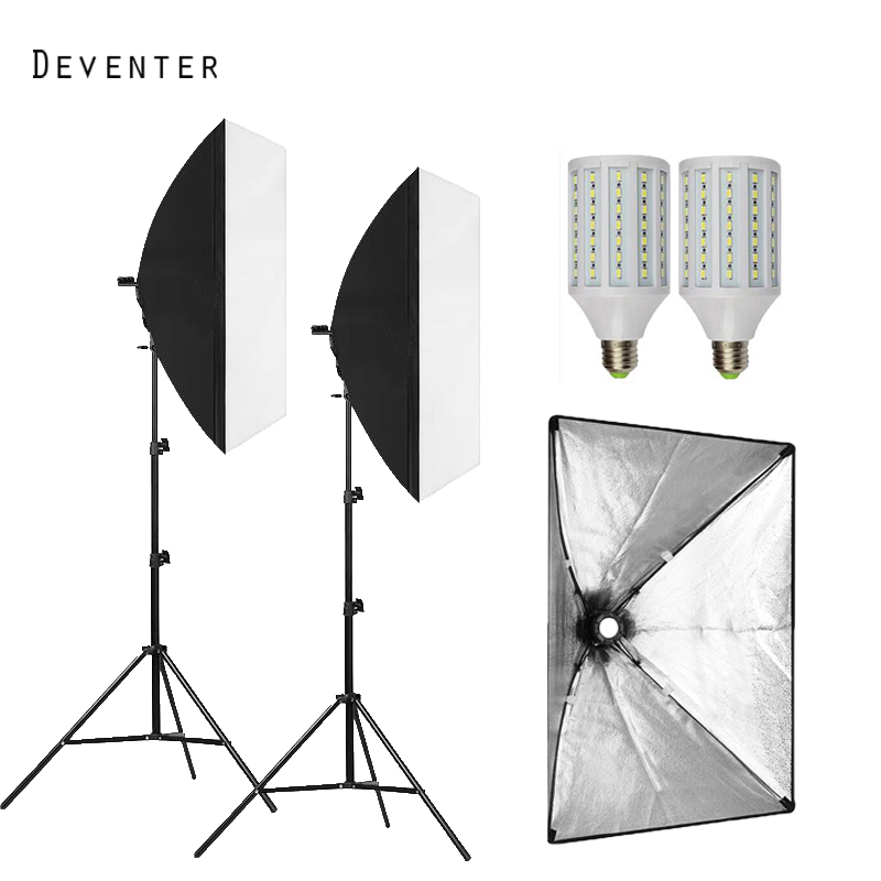 2PCS LED bulb Photography light Single lamp holder Photo Studio softbox Continuous lighting Softboxes&diffuser kit+2Lamp holder 2250w photo studio continuous lighting 10x45w bulbs 50 70cm softboxes stands kit free shipping via dhl or ems
