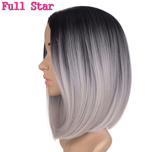 Full Star Synthetic Wigs for Woman Black Ombre Grey Burgundy Blonde Silver Brown African American Yaki Striaght Bob Wig 160g(China)