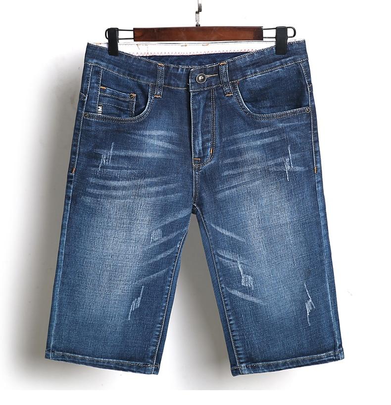 KSTUN Summer Shorts Jeans for Men New Arrivals Elastic Blue Scratched Fashion Pockets Denim Shorts Jeans Man Slim Fit Casaul Shorts 17