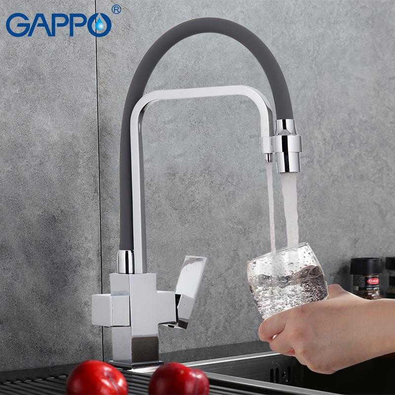 GAPPO noir cuisine robinet avec de l'eau filtrée mélangeur de cuisine robinet de cuisine évier robinet d'eau en laiton grue filtre du robinet