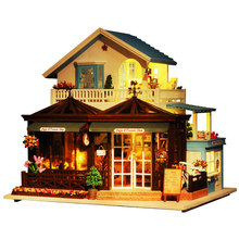 Miniature Doll House Furniture Decoration  Puzzle DIY Doll House Wodden Miniatura Dollhouse Toys for Children Gift Carving Time