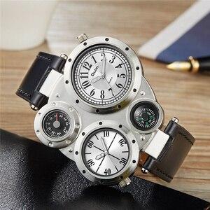 Image 4 - Oulm 男性時計温度計コンパスユニークなデザイナーの高級ブランドメンズスポーツ腕時計 2 タイムゾーンの男性腕時計