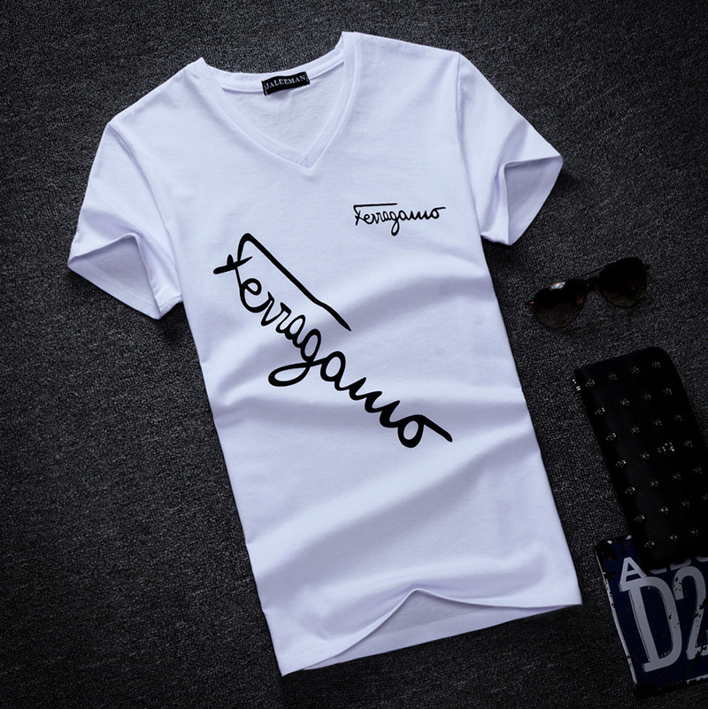 High-quality 2019 Summer Casual Wear Slim V-neck Short Sleeve Shirt Oversized S-5xl Men's T-shirt Cotton T-shirt Clothing
