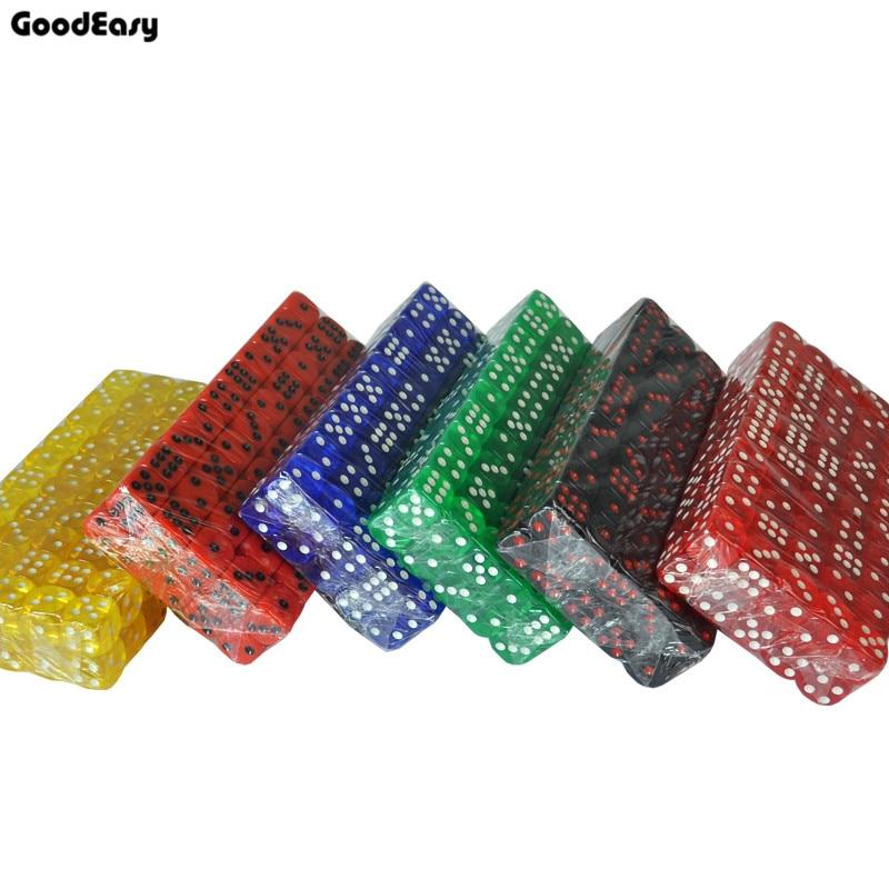 100PCS/SET 16mm Acrylic Transapren Digital Dices Texas Poker Drinking Gambling Translucent 6 Sides Dices Set Casino Accessories