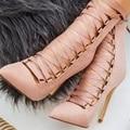 O Punk preto Elegante Mulheres Cut Out Oco Rendas Até Ankle Boots Fromal Alta sandálias de Salto Botas Mulheres Bombas Bootie Sapatos De Casamento rosa