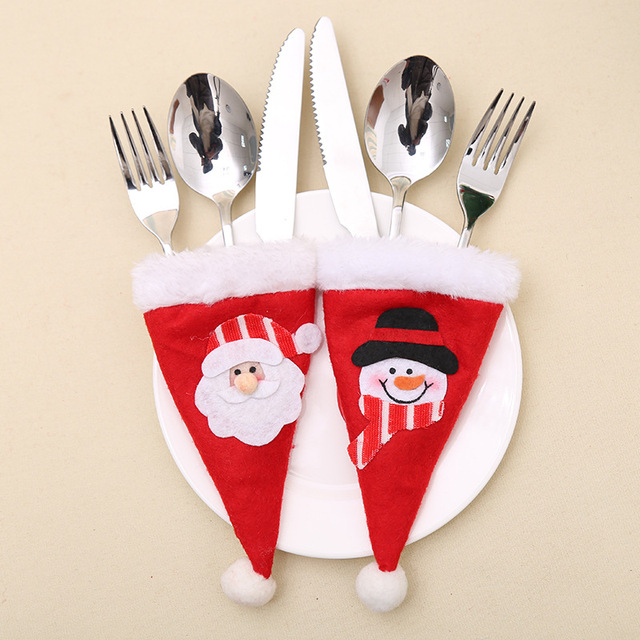 3pcs/lot Fancy Santa Snowman Christmas Decorations Silverware Holders Fork Spoon Pockets Dinner Party Table Decor JK278