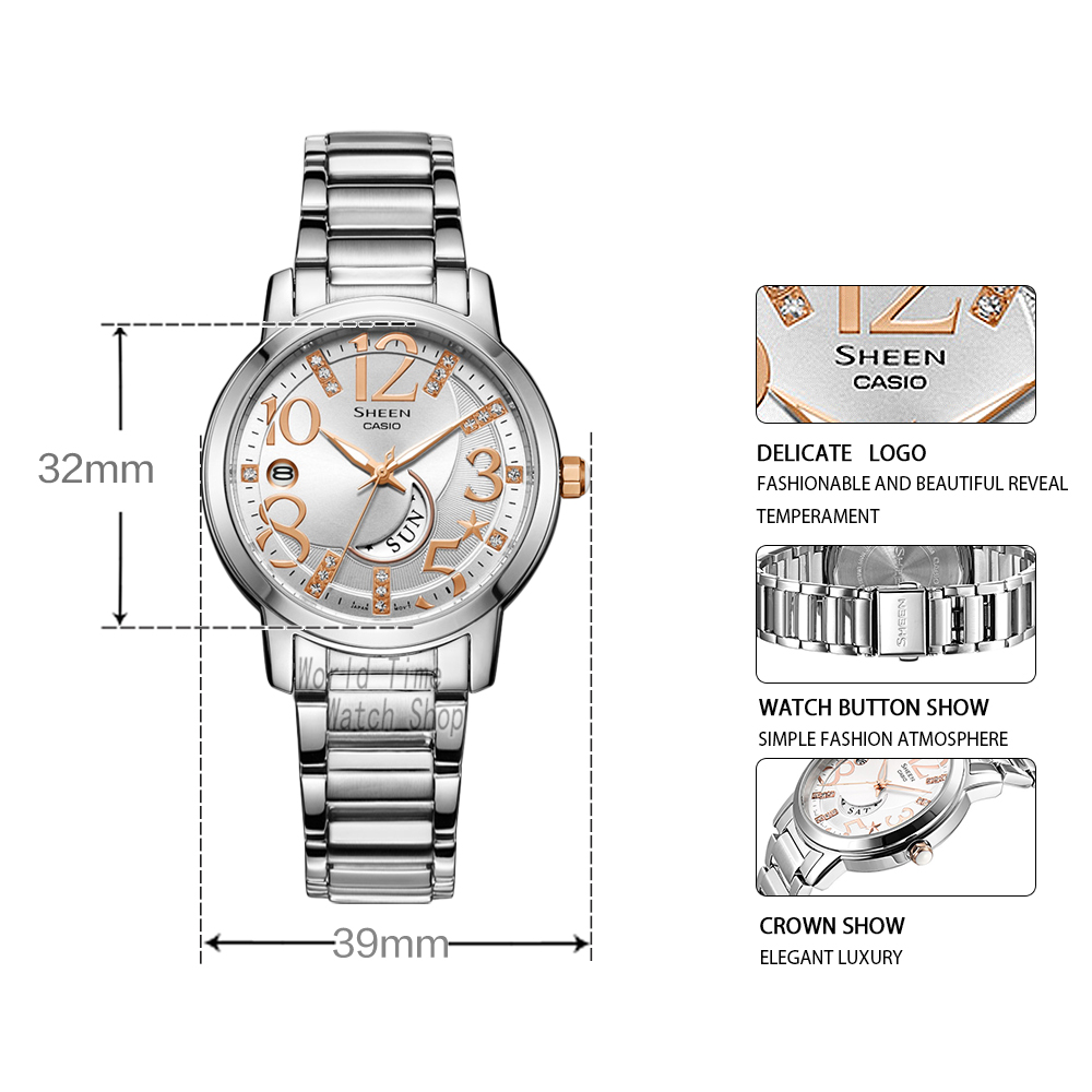 Casio horloge SHEEN dameshorloges Swarovski Crystal topmerk luxe set 50mWaterproof Quartz dameshorloge dames Roze goud Cadeaus Klok Sport horloge relogio feminino reloj mujer montre homme bayan kol saati zegarek damski-in Dameshorloges van Horloges op  Groep 2