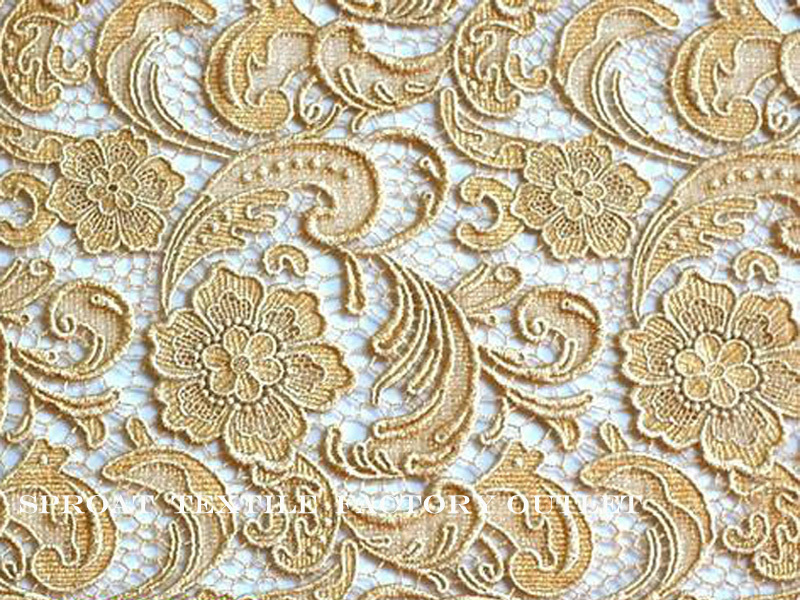 African Style Gold Floral Embroidery Guipure Lace Fabric For Wedding