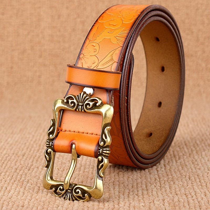 Heißer Verkauf 6 Farben Echtes Leder Frauen Gürtel Mode Vintage - Bekleidungszubehör - Foto 2