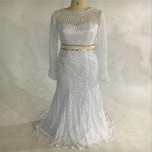 Real Facotry Photos Elegant Geek Vintage Mermaid Wedding Dresses Scoop Neckline Floor-Length Long Sleeves Bridal Gowns Plus Size