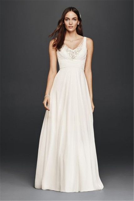 Spaghetti Straps A-Line Wedding Dress with Embellished Bodice V3806 Chiffon Ruched Long Bridal Dress