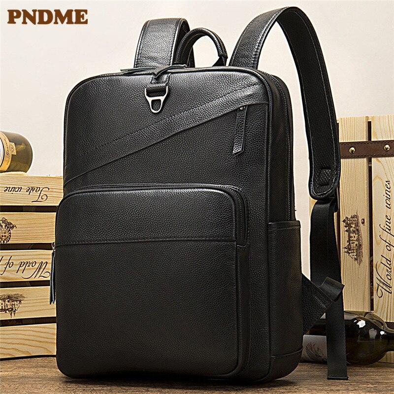 PNDME simple cuir véritable grande capacité affaires 14 pouces noir sac à dos d'ordinateur en cuir de vachette sac à dos pour hommes