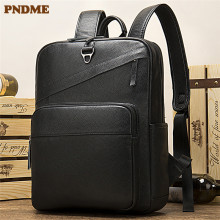 PNDME simple genuine leather large capacity business 14 inch black computer backpack cowhide mens strap bagpack
