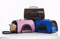 2017 Nueva Moda Plegable Bolsa de Transporte Para Mascotas A Cuadros Transpirable Duro Bolsas de viaje Para Pequeño Mediano Grande Gato Perro Portador Del Animal Doméstico Props
