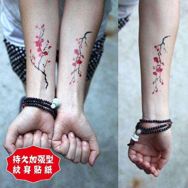 Temporary tattoo stickers body arm wrist red plum blossom for Fake body tattoos
