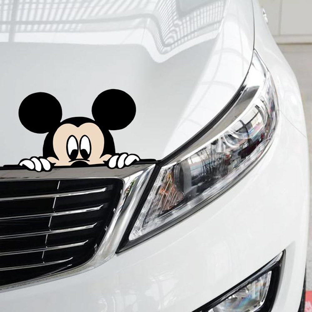 Aliauto Funny Car Sticker Cute Mickey Mouse Peeping Cover Scratches Cartoon Window Decal For Motorcycle vw Bmw E46 Ford Focus car window curtains legal