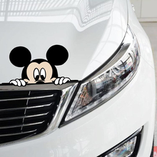 Aliauto Funny Car Sticker Cute Mickey Mouse Peeping Cover Scratches Cartoon Window Decal For Motorcycle vw Bmw E46 Ford Focus(China)