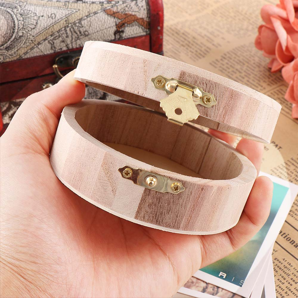 Round DIY Wood Crafts Ring Earrings Container Case Jewelry Storage Personalized Wedding Engagement Wooden Ring Bearer Box