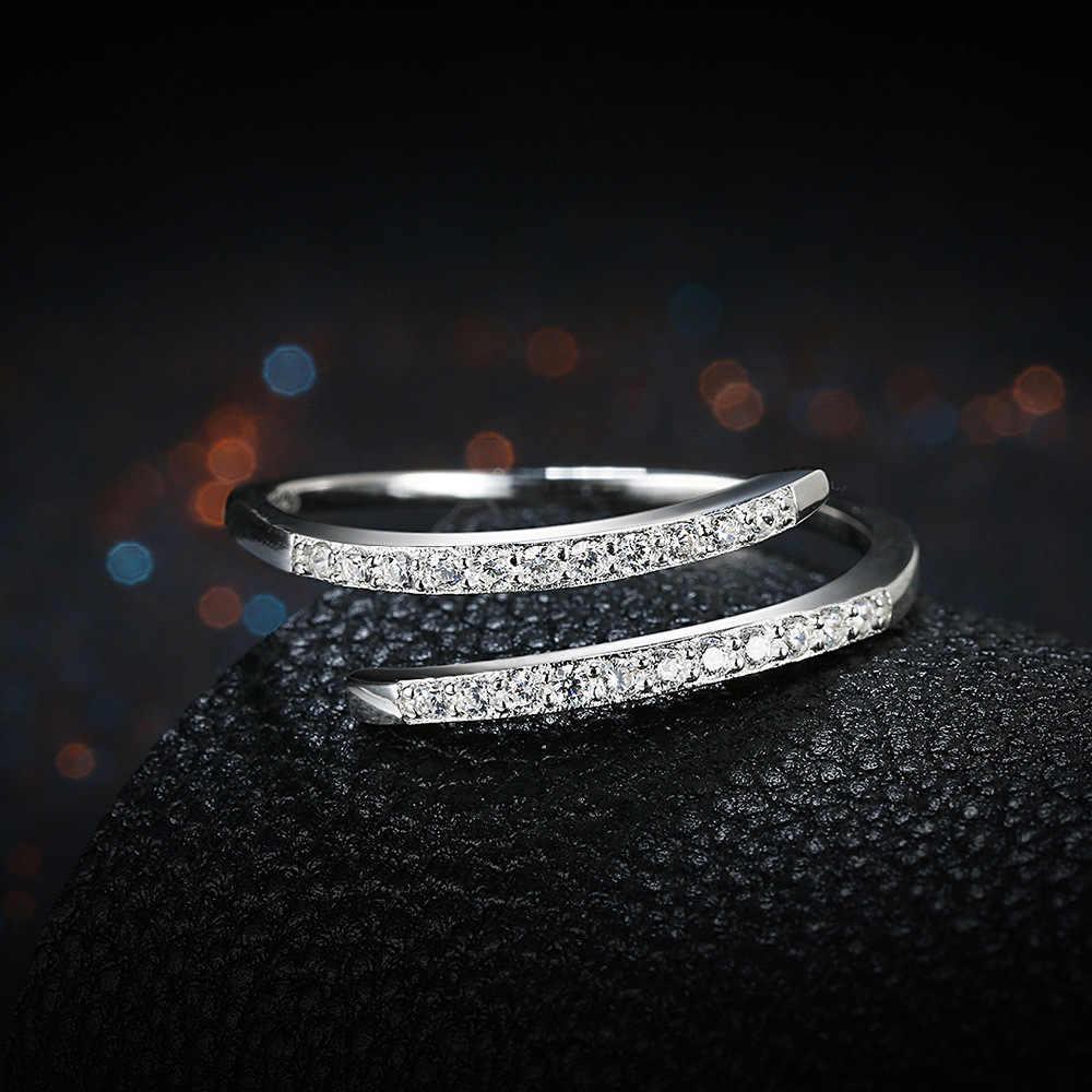 Femmes beaux bijoux pur argent Sterling Micro diamant anneaux ouverts mariage bague de fiançailles accessoire livraison gratuite