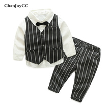 2017  Spring Autumn Boys gentleman set kids fashion comfortable cotton vest + shirt + pant three-piece high quality suit