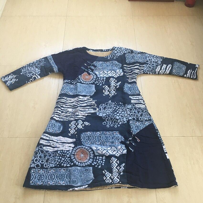 Épais Plus Robe Femmes Dress Lâche Coton Chinois Taille Bleu D'hiver Cachemire Nationale La Féminine Lin Chaud Imprimer 7gyz47HrqZ