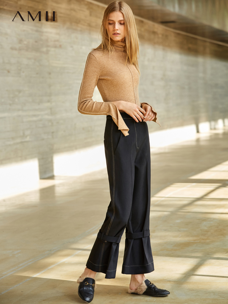 Amii Minimalist   Wide     Leg     Pants   Women 2019 Spring New Causal Solid Straight High Waist Office Female Black   Pants
