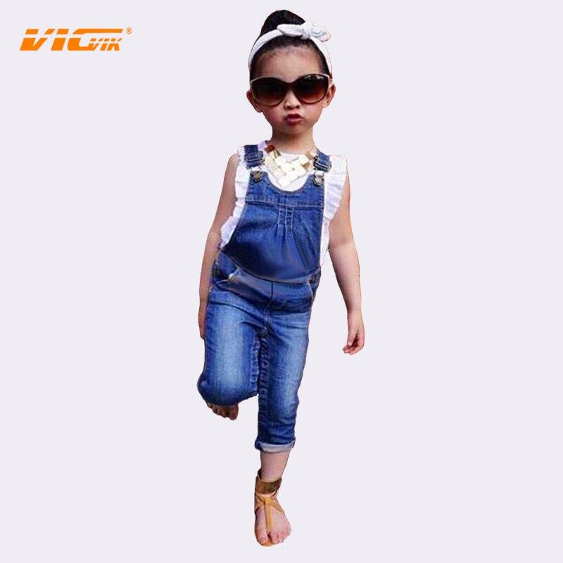 VICVIK Overalls Denim Jeans Girls Clothing Sets Children Summer Wear Kids Clothes Brands Baby Boutique D04X59