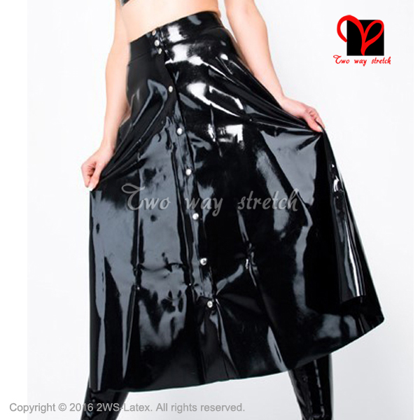 Sexy black Latex skirt full button front Rubber skirt Gummi skirt Playsuit plus size XXX ...