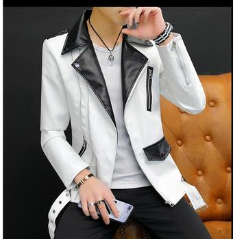Men's personality short leather jackets 2019 new men's thin leather jacket handsome motorcycle leather jacket