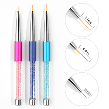 3 pieces Professional Nail Art Painting Brushes Liner 3D Brush Pen Rhinestone Beauty Uv Gel Manicure Tools